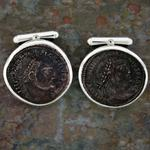 "Emperor Licinius I Cufflinks: Bronze Roman coins (folles) 308-324 AD, obverse views set in handcrafted silver mountings with swivel cufflink back; 23mm or .87"" in diameter."