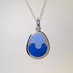 Egg Pendant II: Enamel on silver; Pendant size, 32 mm high x 23 mm wide x 2 mm thick.