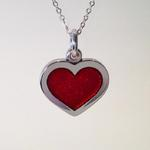 Heart Pendant: Red transparent enamel on silver with gold leaf; Pendant size, 26.5mm high x 26mm wide x 3mm thick.