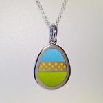 Egg Pendant I: Enamel on silver; Pendant size, 32 mm high x 23 mm wide x 2 mm thick.