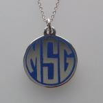 Hand Engraved Round Block Monogram Silver and Champleve Enamel Pendant by Dennis Meade