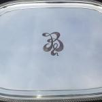 Hand Engraved Ribbon-Cut Monogram on Silver Tray by Dennis Meade