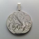 Hand Engraved Script Monogram Silver Medallion with Custom Pendant Loop by Dennis Meade