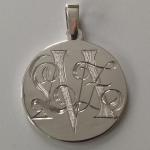 Hand Engraved Mixed-Font Monogram Silver Medallion with Custom Pendant Loop by Dennis Meade