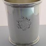 Hand Engraved Script Monogram on Silver Julep Cup by Dennis Meade