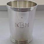 Hand Engraved Roman Block Initials on Silver Julep Cup by Dennis Meade