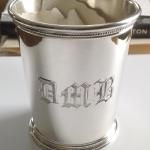 Hand Engraved Silver Julep Cup (Old English initials) by Dennis Meade