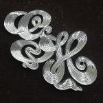 Hand Engraved Ribbon Cut Letters Silver Pendant by Dennis Meade