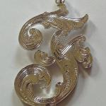 Hand Engraved Leaf Elements Silver Pendant by Dennis Meade