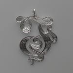 Hand Engraved Ribbon Cut Letter Silver Pendant by Dennis Meade