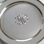 Hand Engraved Script Monogram on Silver Tray by Dennis Meade