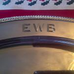 Hand Engraved Block Initials on Copper-Silver-plated Tray by Dennis Meade