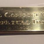 Handcrafted Brass Plaque and Hand Engraving on the Sophie Coppedge Walker Perpetual Trophy by Dennis Meade (under protective wrap)