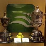 Kentucky Bank Tennis Championships Trophies; Fabricated and hand engraved sterling silver plates on bases by Dennis Meade